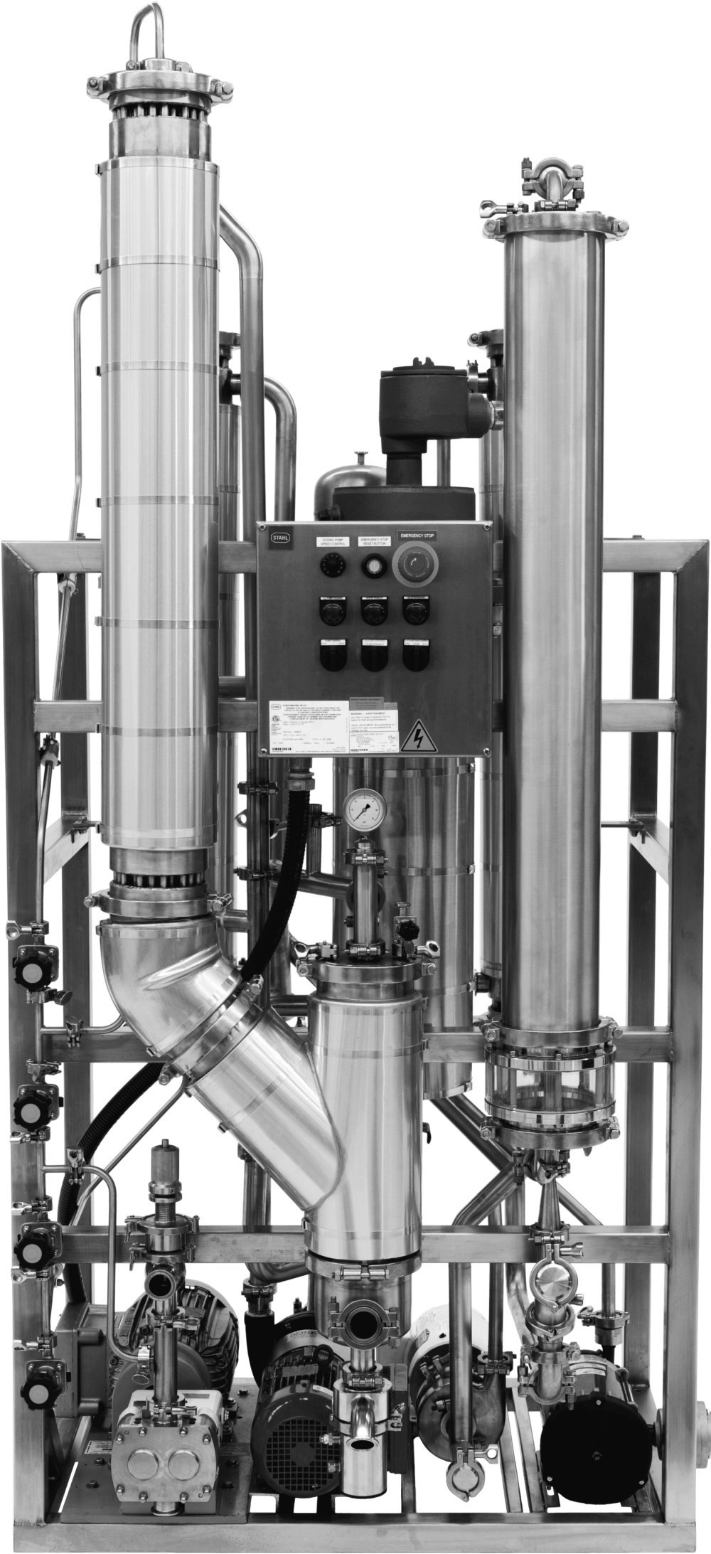 A front view of the EV S-Series Pro falling film evaporator